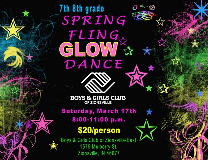 7th 8th Grade Spring Fling Glow Dance at Boys & Girls Club of Zionsville