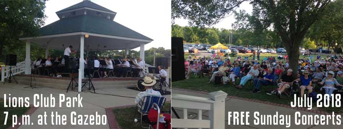 Sunday Concerts in July at the Gazebo in Lions Park