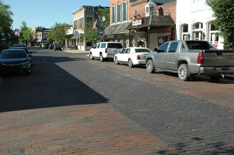 Interurban Railroad Route Marked by Dark Bricks Down the Center of Main Street, Zionsville