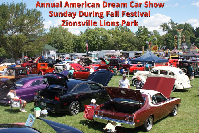 Annual American Dream Car Show in Lions Park, Zionsville